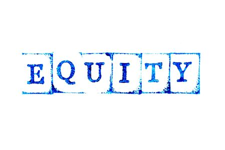 Blue ink of rubber stamp in word equity on white paper background