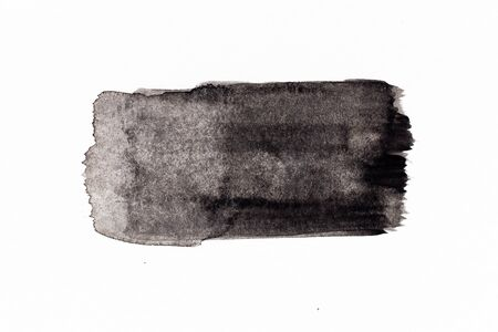 Black color watercolor handdrawing as line brush on white paper background