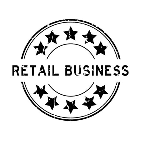 Grunge black retail business word with star icon round rubber seal stamp on white background