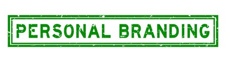 Grunge green personal branding word rubber seal stamp on white background
