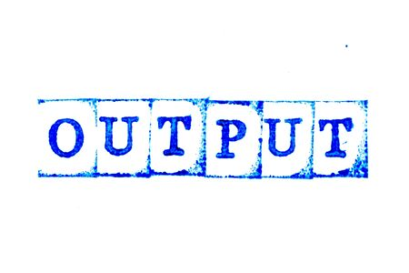Blue ink of rubber stamp in word output on white paper background