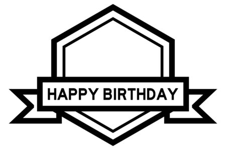 Hexagon vintage label banner in black color with word happy birthday on white background