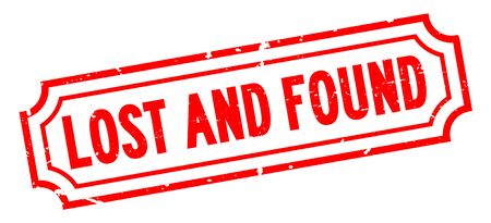 Grunge red lost and found word rubber business seal stamp on white background
