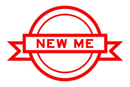 Round vintage label banner in red color with word new me on white background