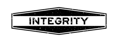 Grunge black integrity word hexagon rubber seal stamp on white background