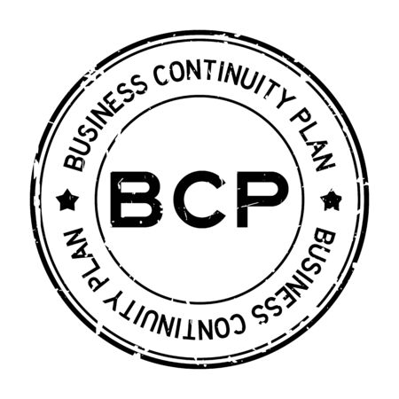 Grunge black BCP (abbreviation business continuity plan) word round rubber seal stamp on white background