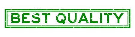 Grunge green best quality word rubber seal stamp on white background Ilustrace