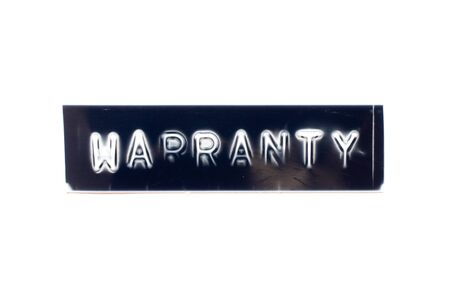 Embossed letter in word warranty in black banner on white background