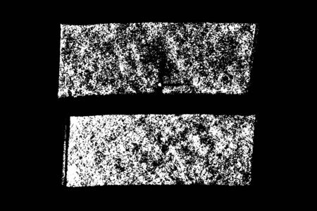 Set of grunge white chalk texture stripe brush on black background
