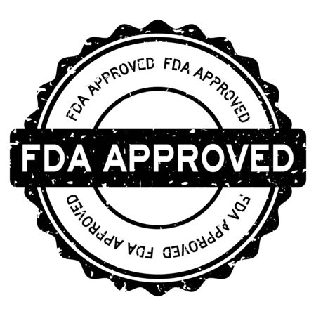 Grunge black FDA (abbreviation of Food and Drug Administration) approved word round rubber seal stamp on white background