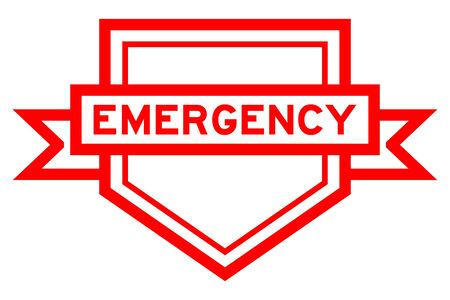 Vintage red color pentagon label banner with word emergency on white background