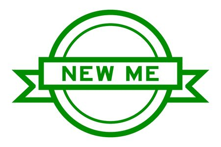 Round vintage label banner in green color with word new me on white background Иллюстрация