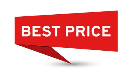 Red paper speech banner with word best price on white background