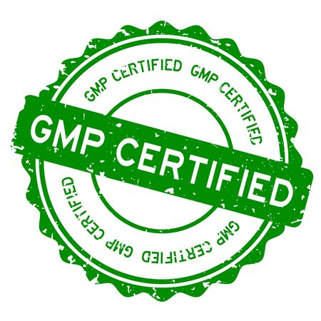 Grunge green GMP (Abbreviation of Good Manufacturing Practice) certified word round rubber seal stamp on white background