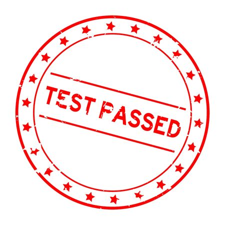 Grunge red test passed word round rubber seal stamp on white background