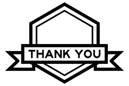 Hexagon vintage label banner in black color with word thank you on white background
