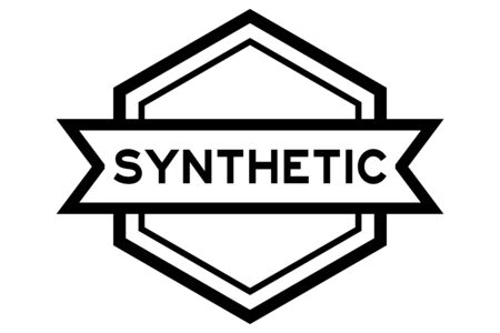Hexagon vintage label banner in black color with word synthetic on white background
