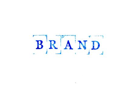 Blue ink of rubber stamp in word brand on white paper background