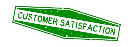 Grunge green customer satisfaction word hexagon rubber seal stamp on white background