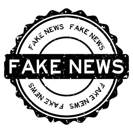 Grunge black fake news word round rubber seal stamp on white background Vektorgrafik