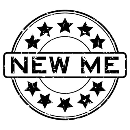 Grunge black new me word with star icon round rubber seal stamp on white background