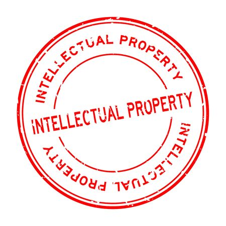 Grunge red intellectual property word round rubber seal stamp on white background
