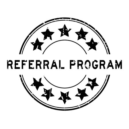 Grunge black referral program word with star icon round rubber seal stamp on white background