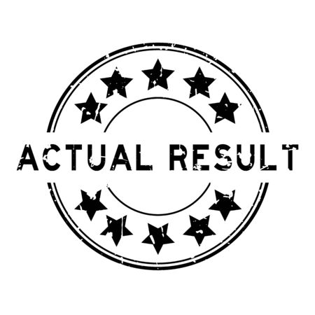 Grunge black actual result word with star icon round rubber seal stamp on white background