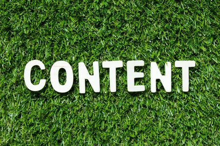 Wood alphabet letter in word content on artificial green grass background