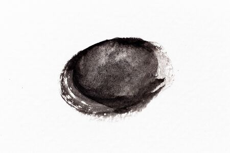 Black color watercolor drawing in round brush or banner shape on white paper background