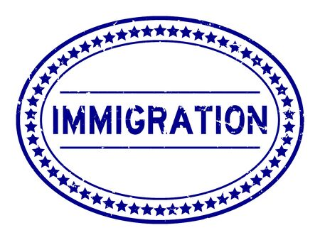 Grunge blue immigration word oval rubber seal stamp on white background