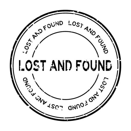 Grunge black lost and found word round rubber seal stamp on white background Çizim