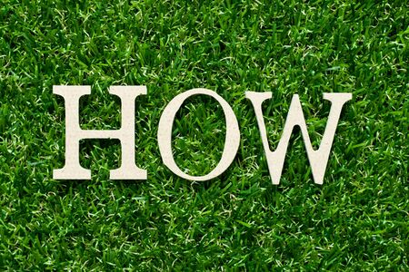 Wood alphabet letter in word how on green grass background