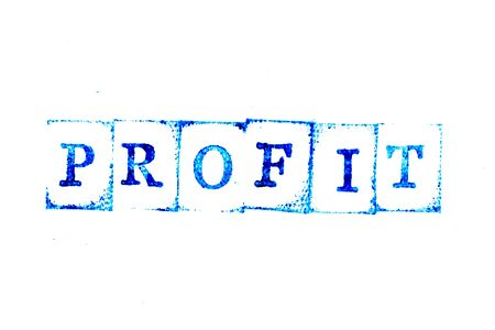 Blue ink of rubber stamp in word profit on white paper background