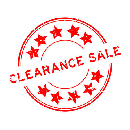 Grunge red clearance sale word with star icon round rubber seal stamp on white background Vettoriali