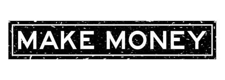 Grunge black make money word square rubber seal stamp on white background Vettoriali