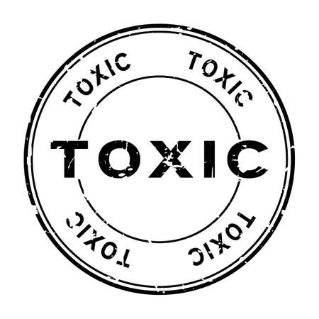 Grunge black toxic word round rubber seal stamp on white background Illustration