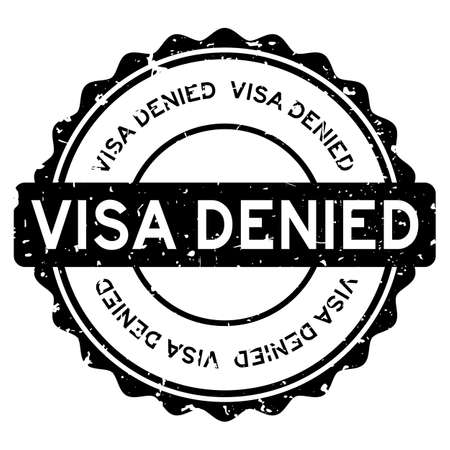 Grunge black visa denied word round rubber seal stamp on white background