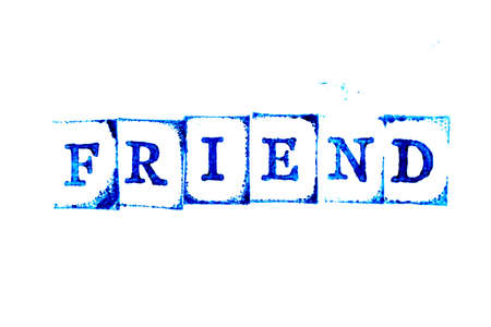 Blue ink of rubber stamp in word friend on white paper background Archivio Fotografico