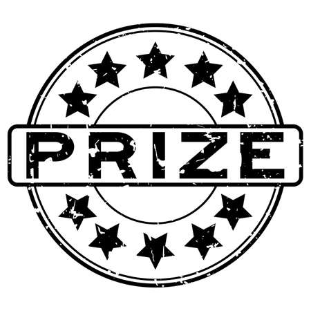 Grunge black prize word round rubber seal stamp on white background 일러스트