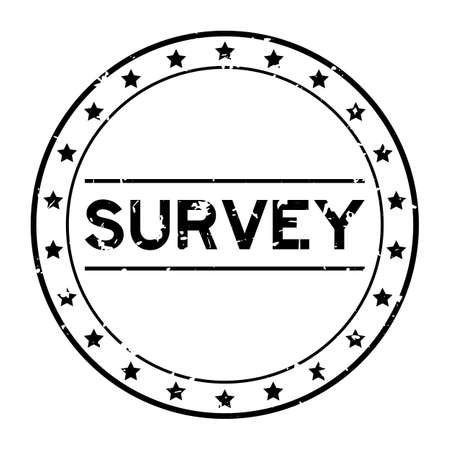 Grunge black survey word round rubber seal stamp on white background