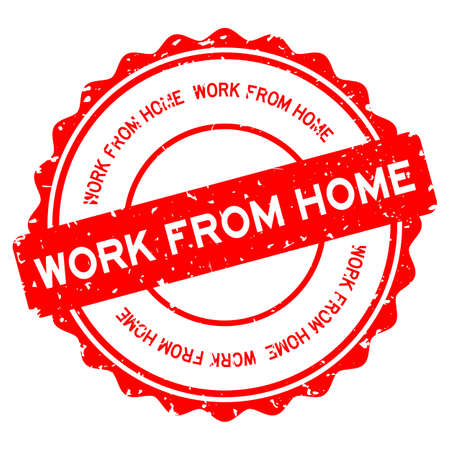 Grunge red work from home word round rubber seal stamp on white background