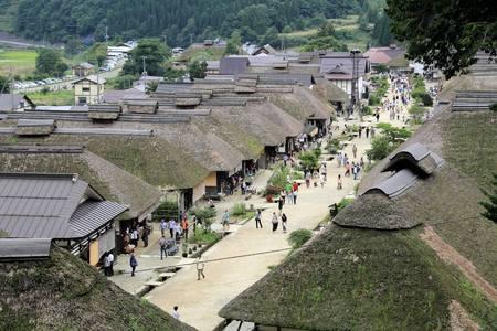 福島、日本 - 2013 年 9 月 7 日: Ouchijuku は、江戸時代に日光と会津を結ぶ会津西街道貿易ルートに沿って旧宿場町です。