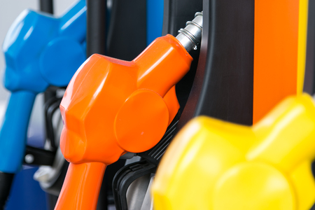 gas pipe: Petrol pump filling Stock Photo