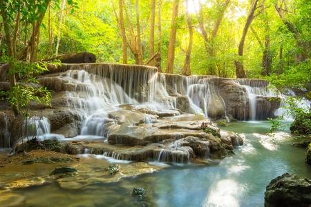 Huay maekamin Waterfall in Kanchanaburi Province, Thailand photo