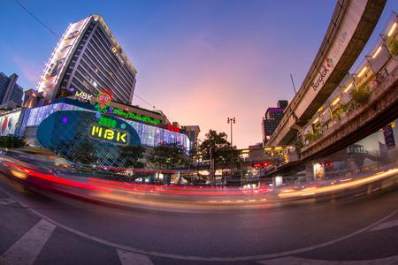 thailand temple: MBK shopping mall at BTS National Stadium station at night. Editorial