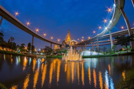 samutprakarn: SAMUTPRAKARN,THAILAND - DECEMBER 17, 2014 : Bhumibol Bridge in Thailand, also known as the Industrial Ring Road Bridge, in Thailand. The bridge crosses the Chao Phraya River twice.