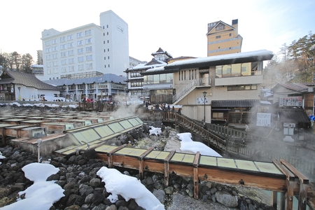 lovesickness: Kusatsu Onsen is one of Japan most famous hot spring resorts and is blessed with large volumes of high quality hot spring water said to cure every illness but lovesickness.