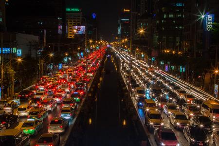 Bangkok met verkeersopstopping Redactioneel