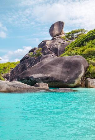 snorkelers: Beautiful crystal clear sea at tropical island Similan island Andaman sea Thailand